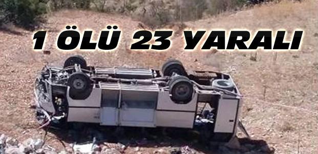 İşçi Servisi Uçuruma Yuvarlandı-1 Ölü 23 Yaralı