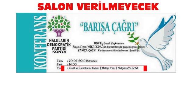 KONESOB HDP'nin Programına Salon Vermeyecek