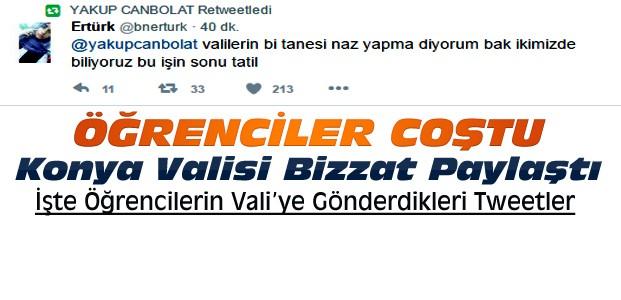 Konya Valisine Öğrencilerin Komik Tatil Tweetleri