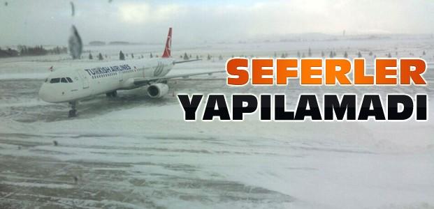 Konya'da Hava Ulaşımına Kar Engeli