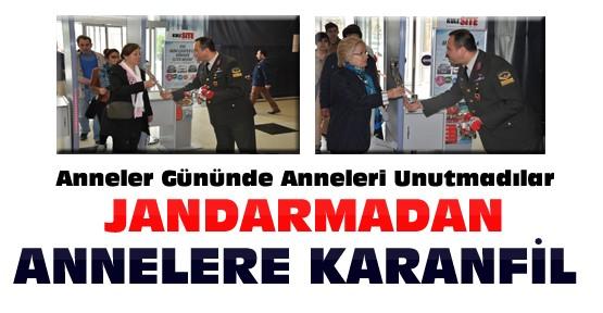 Konya'da Jandarma Annelere Karanfil Dağıttı
