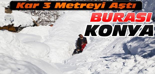 Konya'da Kar Boyu 3 Buçuk Metreye Ulaştı