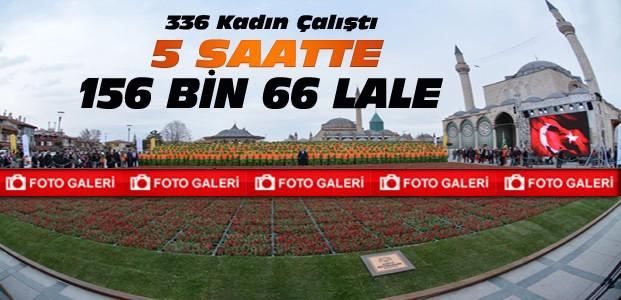Konya'da Lalelerle Türk Bayrağı Rekor Kırdı-FOTO GALERİ