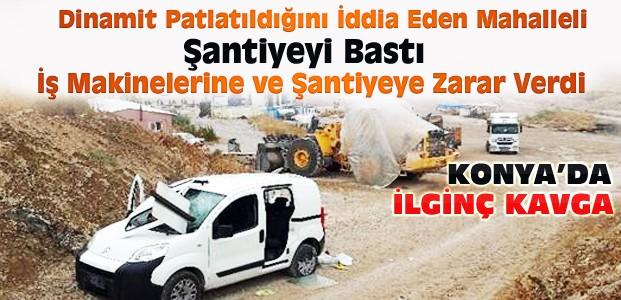 Konya'da Mahalleli Şantiyeyi Bastı