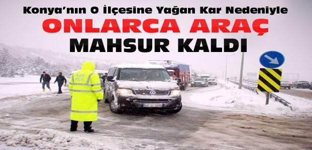 Konya'da o ilçede ulaşıma kar engeli