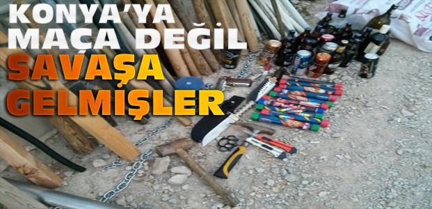 Konya'da taraftarlardan adeta cephanelik çıktı