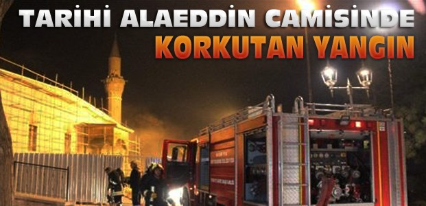 Konya'da Tarihi Alaeddin Camisinde Yangın