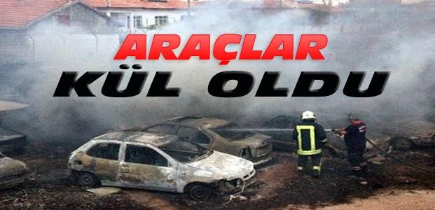Konya'da trafik otoparkında yangın-70 araç yandı