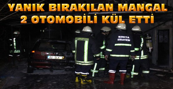 Konya'da Yanık Bırakılan Mangal 2 Otomobili Kül Etti
