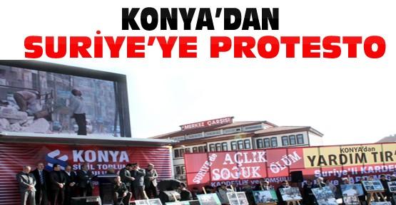 Konya'daki Sivil Toplum Kuruluşlarından Suriye'ye Protesto Mitingi