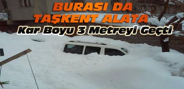 Konya'nın Bu İlçesinde de Kar 3 Metreyi Geçti