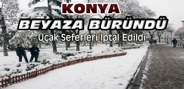 Konya'ya Kar Yağdı-Uçak Seferleri İptal