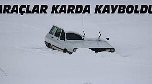 Beyşehir'de Araçlar Karla Kaplandı