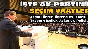Davutoğlu Ak Partinin Seçim Vaatlerini Açıkladı
