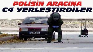 Konya'da polisin aracına bomba yerleştirdiler