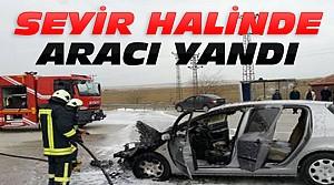 Konya'da Seyir Halinde Araç Yandı