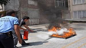 Meram Belediyesi'nden Yangın Tatbikatı