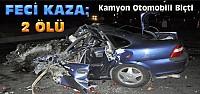 Taksim Elma Yüklü Kamyonla Otomobil Çarpıştı:2 Ölü