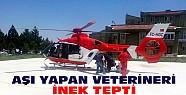 İneğin Teptiği Veteriner Hava Ambulansıyla Hastaneye Sevk Edildi