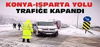 Isparta Konya Yolu Kar Nedeniyle Trafiğe Kapatıldı