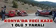 Konya'da feci kaza:1 ölü 7 yaralı