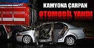 Konya'da Kamyona Arkadan Çarpan Otomobil Yanarken Sürücüsü Ağır Yaralandı
