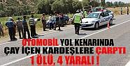 Konya'da Otomobil Yol Kenarında Çay İçen Kardeşlere Çarptı: 1 Ölü, 4 Yaralı!