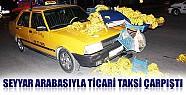Konya'da Seyyar Arabasıyla Ticari Taksi Çarpıştı