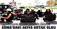 Konya'da üniversite öğrencileri Soma'nın yasını tutuyor