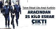 Konya'daki uygulamada Takım Elbiseli Kuaförün Aracından 25 Kg Esrar Çıktı