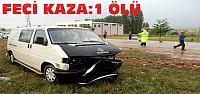 Otomobille Minibüs Çarpıştı:1 Ölü 3 Yaralı