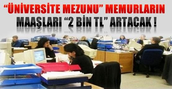 Üniversite Mezunu Memurların Maaşları 2 Bin Lira Artacak