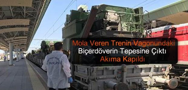 Vagondaki Biçerdöverin Tepesinde Akıma Kapıldı