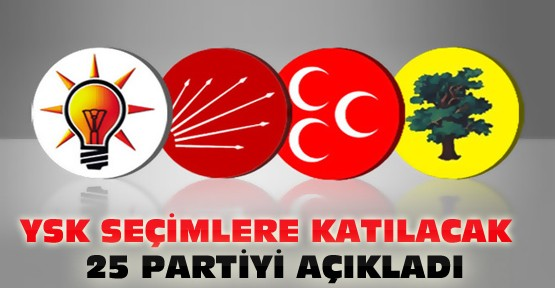 YSK Seçime Girecek 25 Partiyi Açıkladı